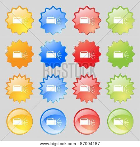 Flashlight Icon Sign. Big Set Of 16 Colorful Modern Buttons For Your Design. Vector