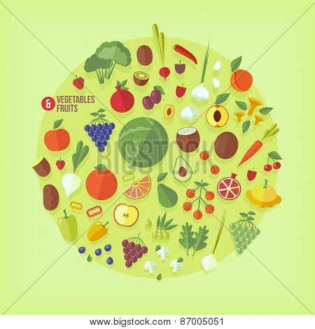 Fruits and vegetables vector icons collection. Flat modern style.