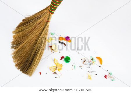 Broom Sweeping Various Debris