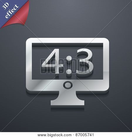 Aspect Ratio 4 3 Widescreen Tv Icon Symbol. 3D Style. Trendy, Modern Design With Space For Your Text