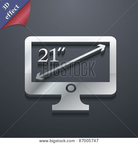 Diagonal Of The Monitor 21 Inches Icon Symbol. 3D Style. Trendy, Modern Design With Space For Your T