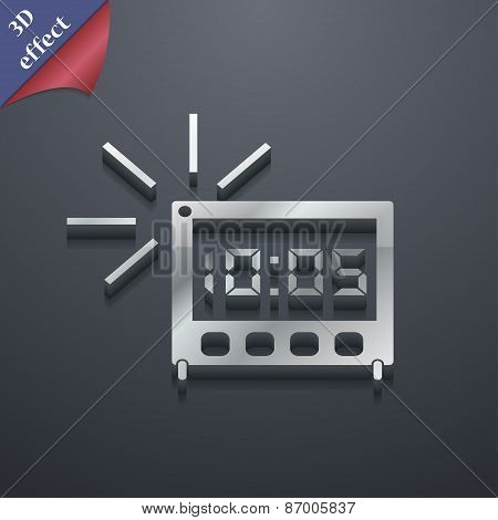 Digital Alarm Clock Icon Symbol. 3D Style. Trendy, Modern Design With Space For Your Text Vector