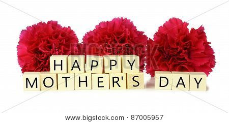 Happy Mother's Day wood blocks with carnations