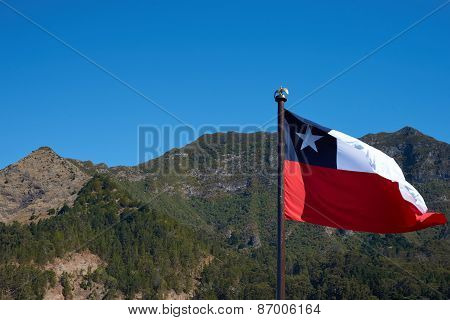 Flag of Chile on Robinson Crusoe Island
