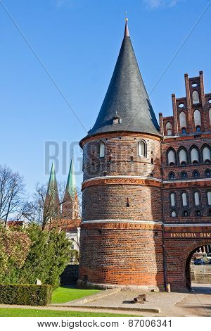 Holsten Gate In Lubeck Old Town, Germany
