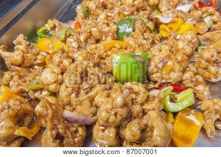 Cauliflower In Black Bean Sauce At A Chinese Restaurant Buffet