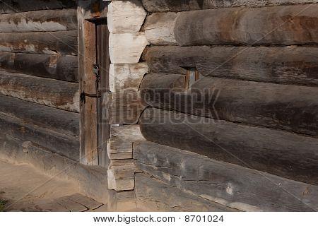 Rart Of The Ukrainian Hut. Front Door.