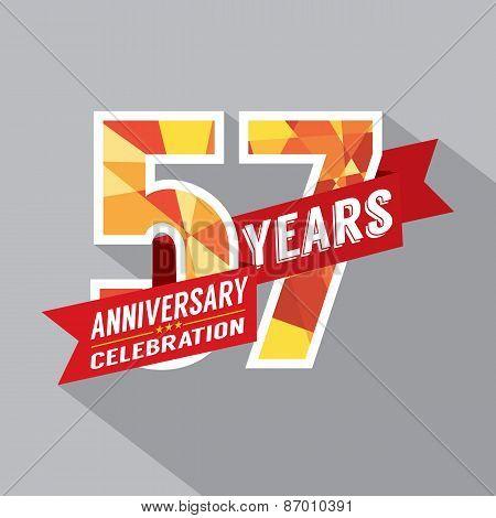 57Th Years Anniversary Celebration Design.