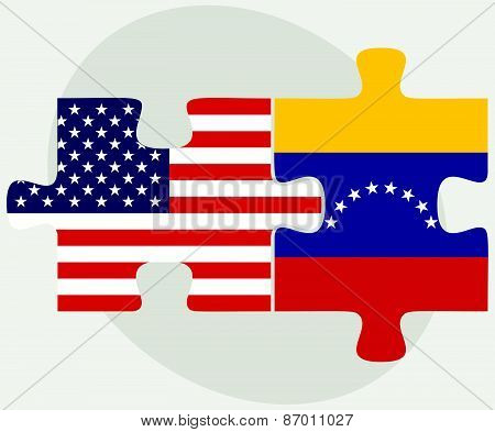 Usa And Venezuela Flags In Puzzle
