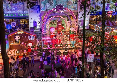 BANGKOK, THAILAND, DECEMBER 25, 2014: View on a Christmas street show near the Ploen chit BTS station in Bangkok, Thailand.