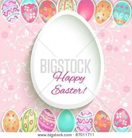 Easter holiday frame with painted eggs. Place for text.