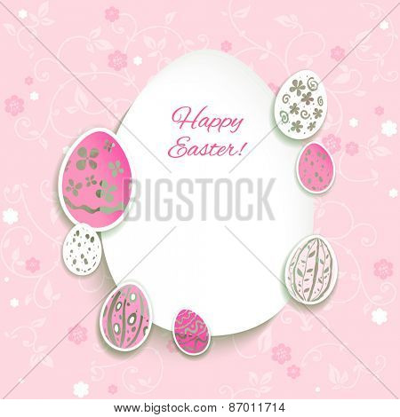Easter eggs on pink background. Place for text.