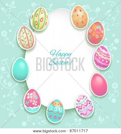 Easter holiday card with eggs on pastel spring background.