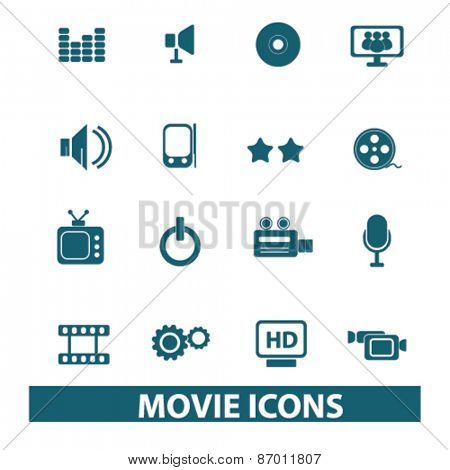 movie, cinema icons, signs design concept set, vector for website, application, print advertising