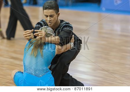 Minsk, Belarus-february 15,2015: Lebed Denys And Tikhonova Kateryna From Ukraine Performs Adult Lati