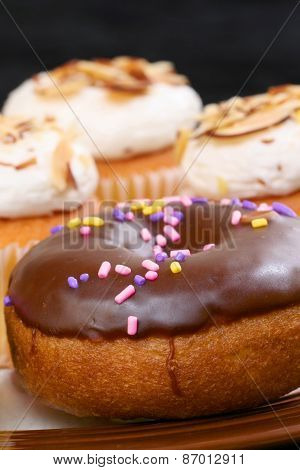 Cake doughnut with chocolate frosting