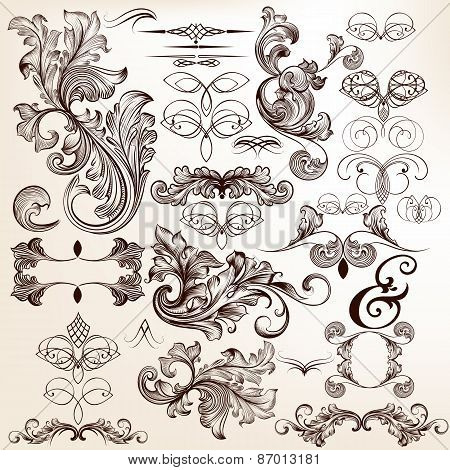 Collection Of Vector Decorative Flourishes In Vintage Style  For Design