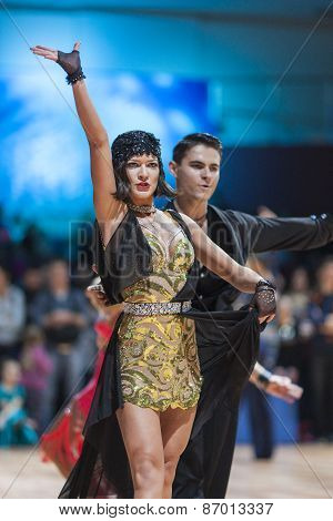 Minsk, Belarus-february 15,2015: Vitenko Andrii And Baran Sofiia From Ukraine Performs Adult Latin-a
