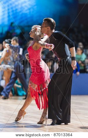 Minsk, Belarus-february 15,2015: Kosyakov Egor And Belmach Anastasiya From Belarus Performs Adult La