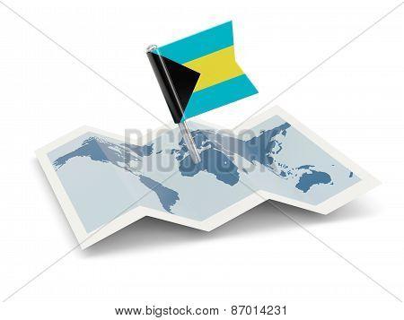 Map With Flag Of Bahamas