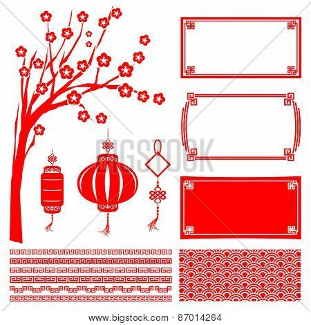 Happy Chinese New Year 2015 Decoration Element For Design Vector Illustration