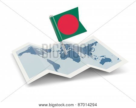 Map With Flag Of Bangladesh