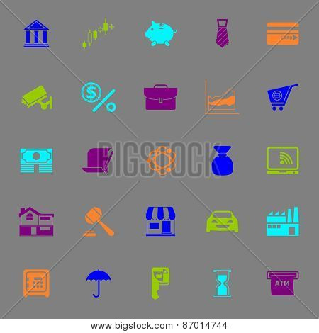 Banking And Financial Color Icons On Gray