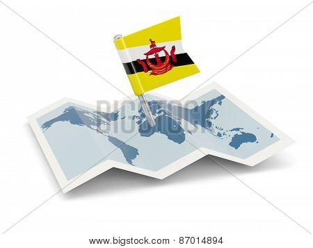 Map With Flag Of Brunei