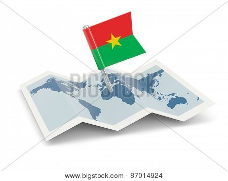 Map With Flag Of Burkina Faso