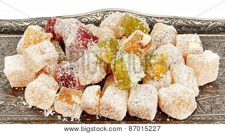 Turkish Delight On A Tray Isolated On White Background