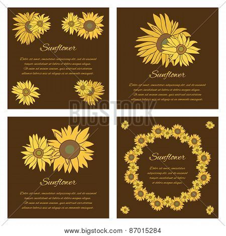 Sunflower Vector Greeting Card Set On The Dark Background