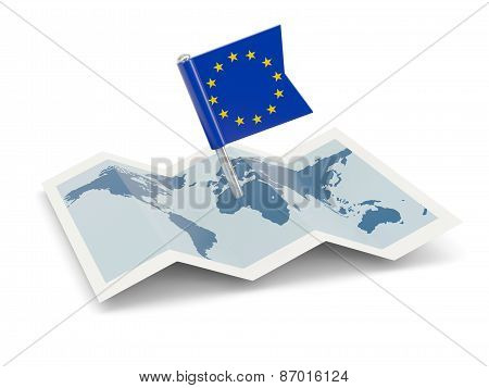 Map With Flag Of European Union