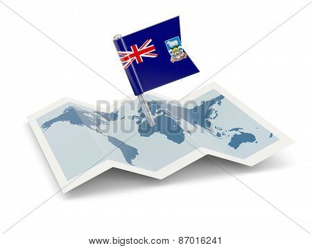 Map With Flag Of Falkland Islands