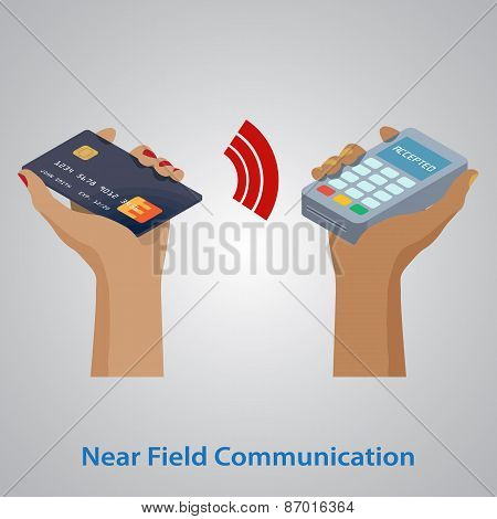 Mobile payment concept with a symbol of credit card NFC technolo