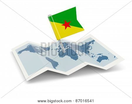 Map With Flag Of French Guiana