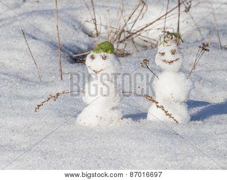 Two Cute Snowman