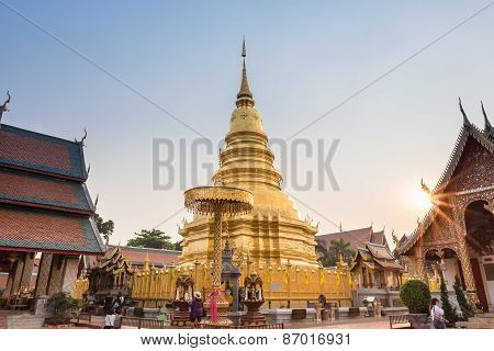 Temple Phra That Hariphunchai In Lamphum, Province Chiang Mai, Thailand