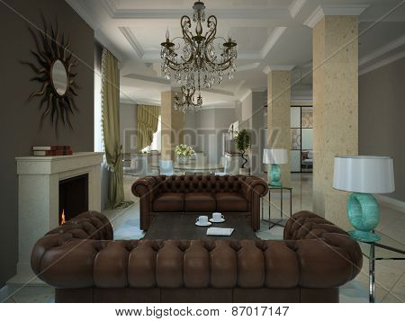 Part of the living-room in the modern country-house 3D