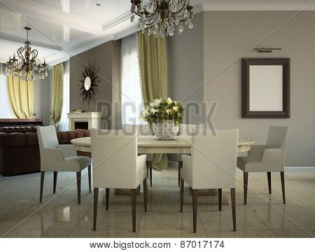 Part of the living-room in the country-house 3D