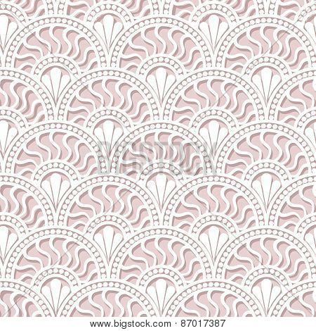 White Scales Lace Seamless Pattern