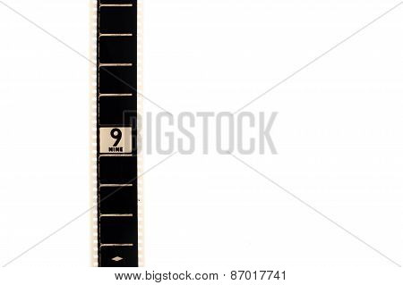 Number Nine Countdown Movie Filmstrip Vertical And Copyspace