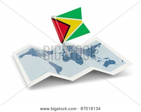 Map With Flag Of Guyana
