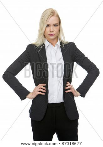 businesswoman with arms on hips