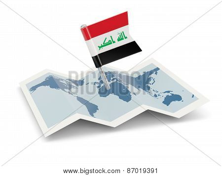 Map With Flag Of Iraq