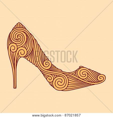Brown Ornamental Shoe On Light Beige Background