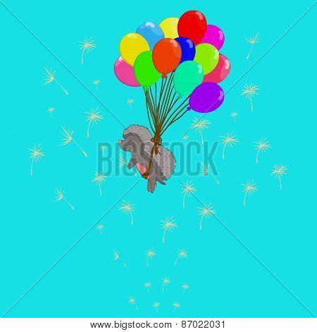 Hedgehog On Balloons