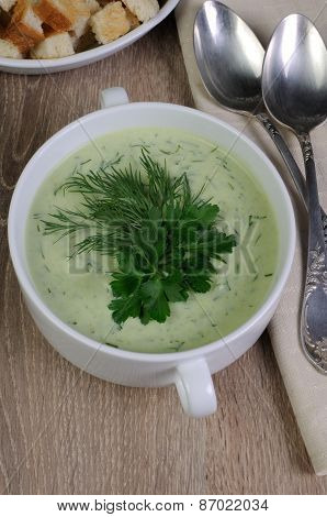 Puree Soup With Dill And Parsley