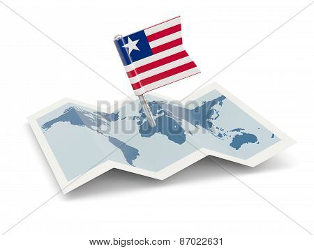 Map With Flag Of Liberia