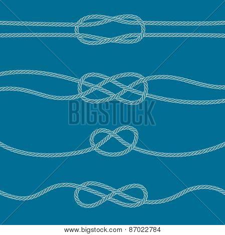 Set Of Marine Knots: Reef, Carrick Bend, Overhand, Figure 8.