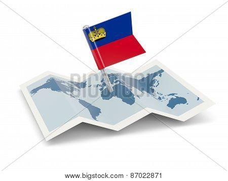 Map With Flag Of Liechtenstein